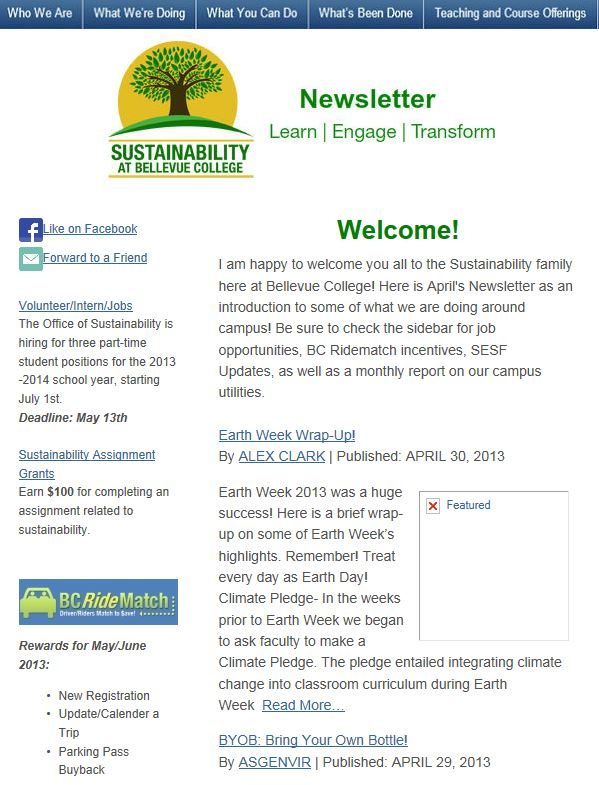 April 2013 Newsletter screen shot