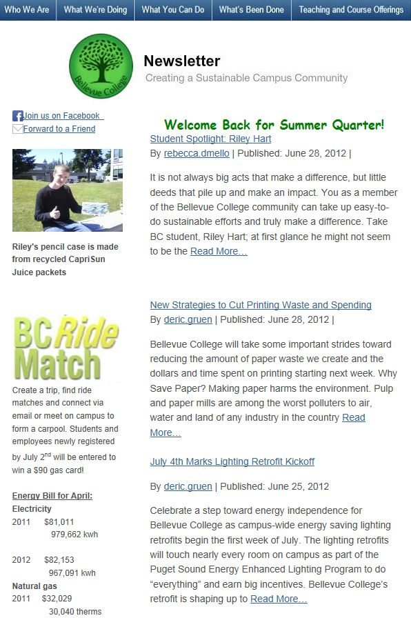 June 2013 newsletter screen shot