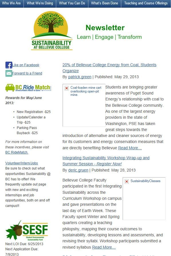 May 2013 Newsletter screen shot