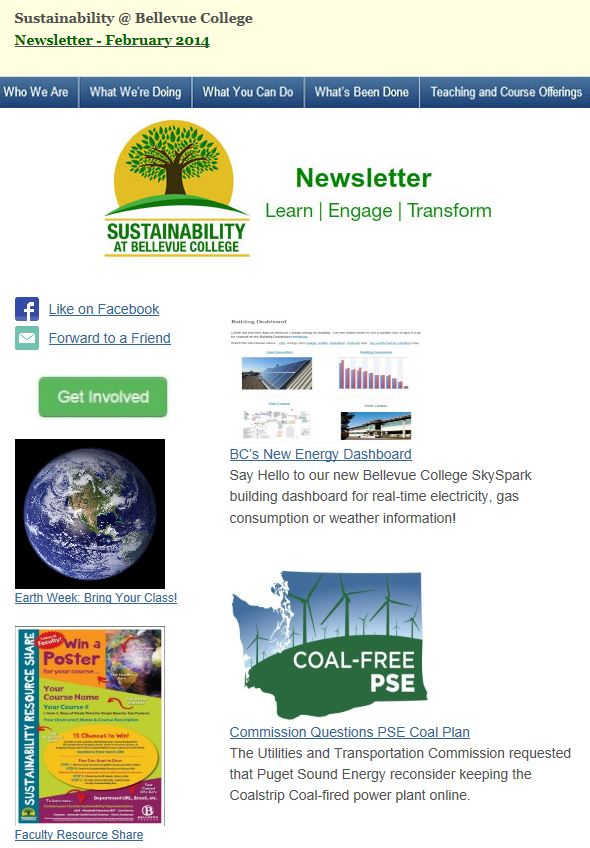 Sustainability at Bellevue College February 2014 Newsletter screen shot