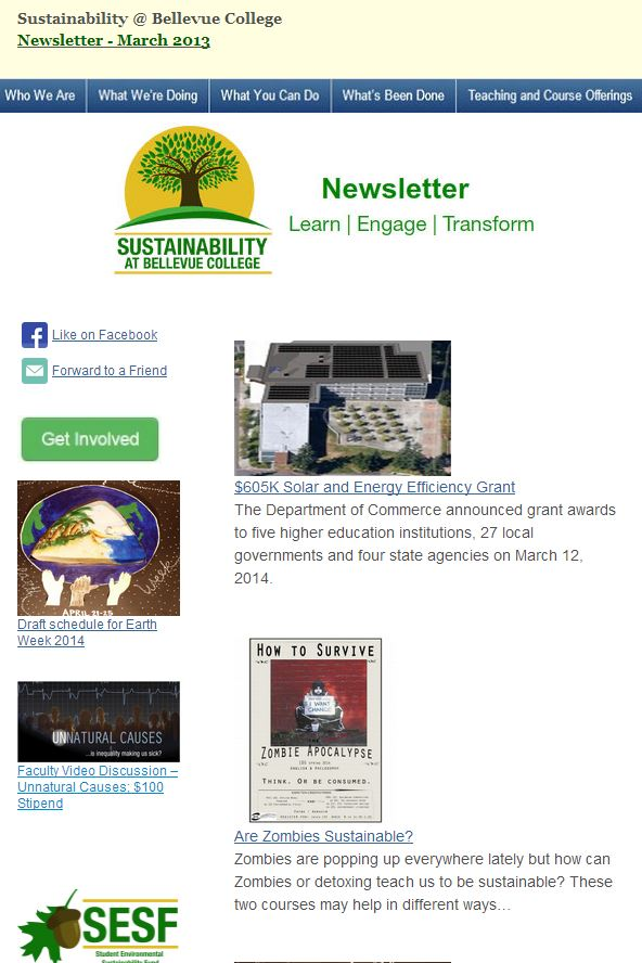 March 2014 Newsletter screen shot