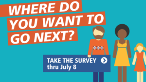This is a picture that says Where do you want to go next? There are three people in the picture: a white man, a black woman, and young girl. The man is holding a sign that says take the survey through July 8