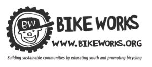 "Bike Works logo has an illustration of a boy with a side-ways cap in the center of a bike wheel. The logo features the name Bike Works and the URL www.bikeworks.org. The tagline is ""Building Sustainable communities by educating youth and promoting bicycling."""