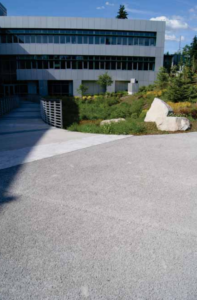 Image of the Porous pavement the surrounds the T Building