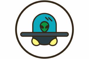 a green alien inside a grey UFO