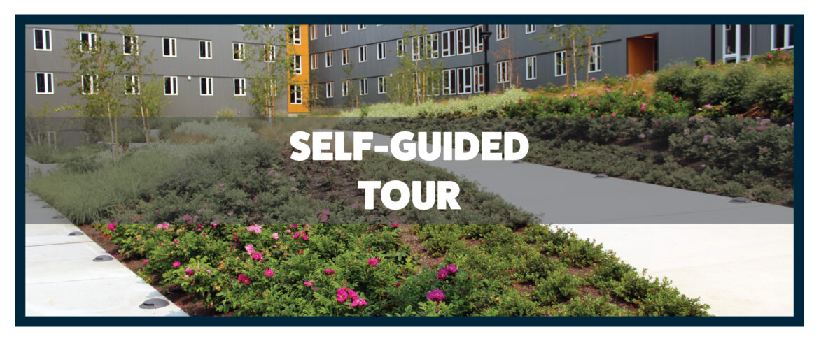 Gardens and the student housing building, text Self Guided tour