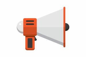 An orange and white speaker phone