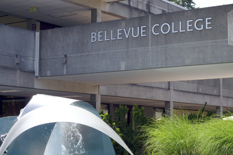The Bellevue College sign above the fountain on campus.