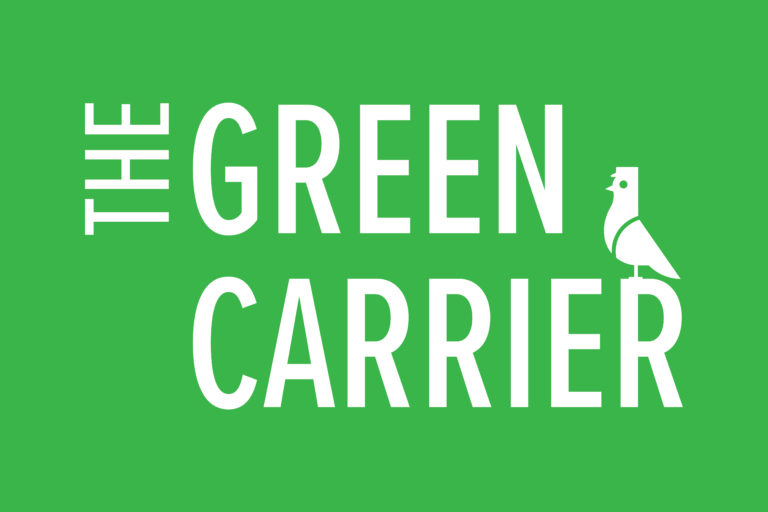 The Green Carrier logo over green