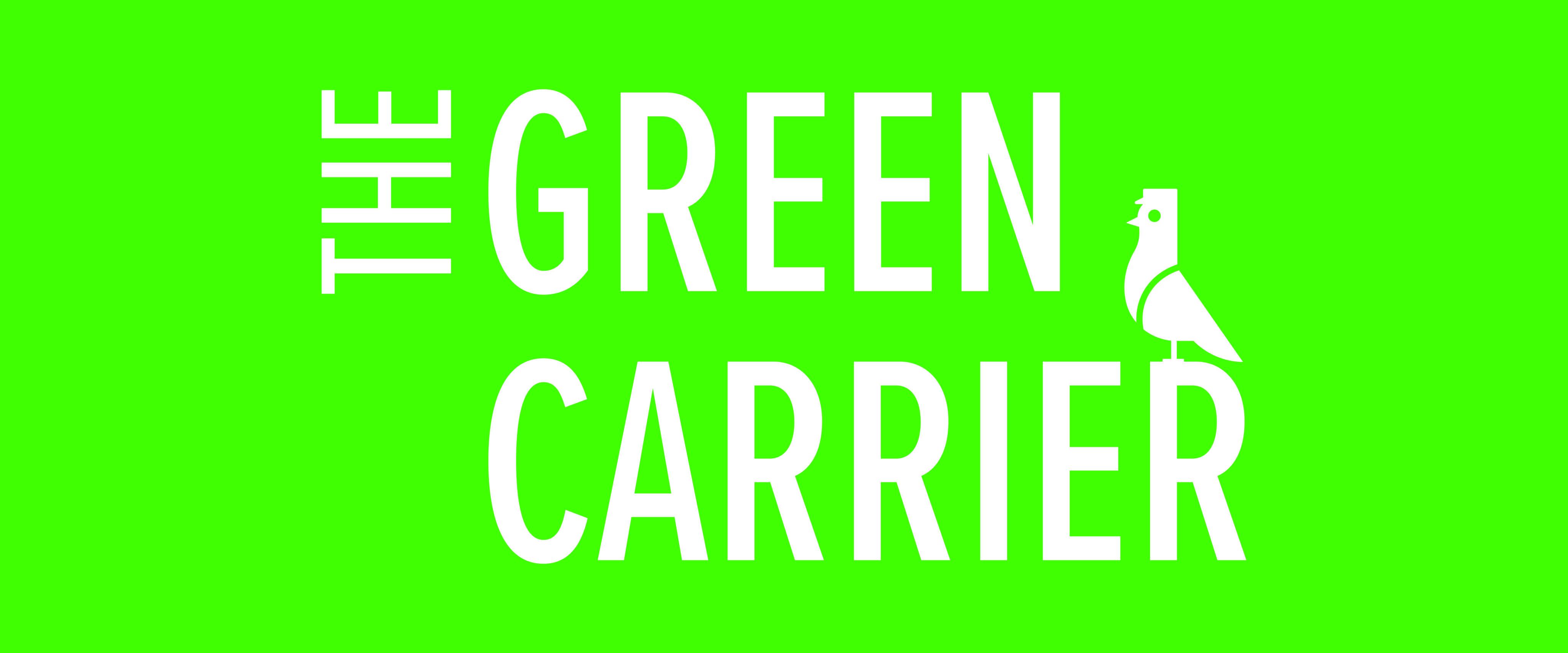 The Green Carrier logo on a website banner format.