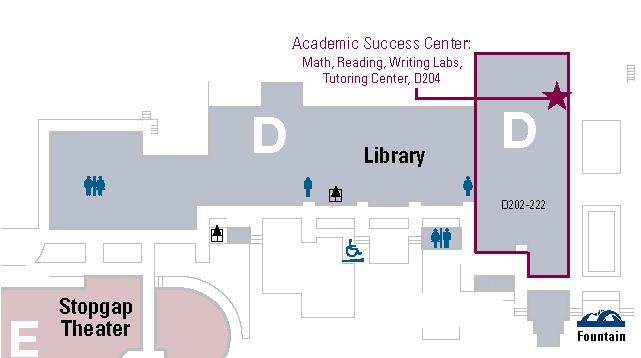 Map of the location of the Academic Success Center and the Writing Lab, D204