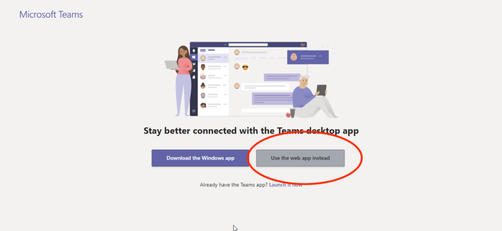 Image of the Microsoft Teams access screen