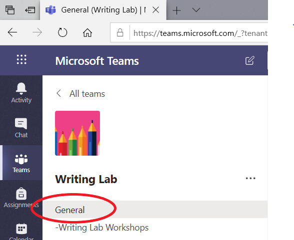 Image of the Writing Lab Team web version with the General channel circled