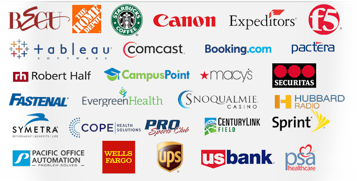 Logos of participants: BECU, The Home Depot, Starbucks Coffee, Canon, Expediators, F5, Tableau, Comcast, Booking.com, Pactera, Robert Half, CampusPoint, Macy's Securitas, Fastenal, Evergreen Health, Snoqualmie Casino, Hubbard Radio, Symetra, Cope Health Solutions, Pro Sports Club, CenturyLink Field, Sprint, Pacific Office Automation, Wells Fargo, UPS, US Bank, PSA Healthcare