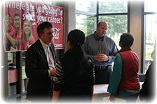Students and employees at the job fair
