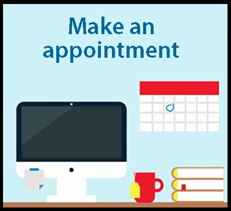 Image of a computer and a calendar that says Make an Appointment