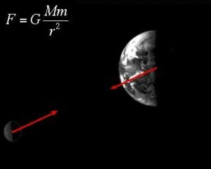 Earth Moon with force vectors