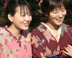 Japanese girls in traditional komono