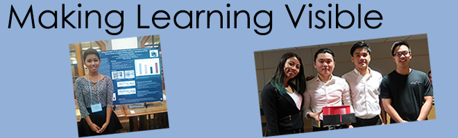 The Making Learning Visible banner includes an image of BC alumna Justine Villaneuva standing in front of her research poster and a team of four students exhibiting a robot they built