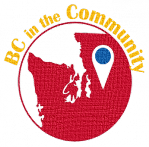 "Textured, encircled red image of Western Washington with a pin for Bellevue College with a blue circle, and outside written ""BC in the Community"" in yellow."