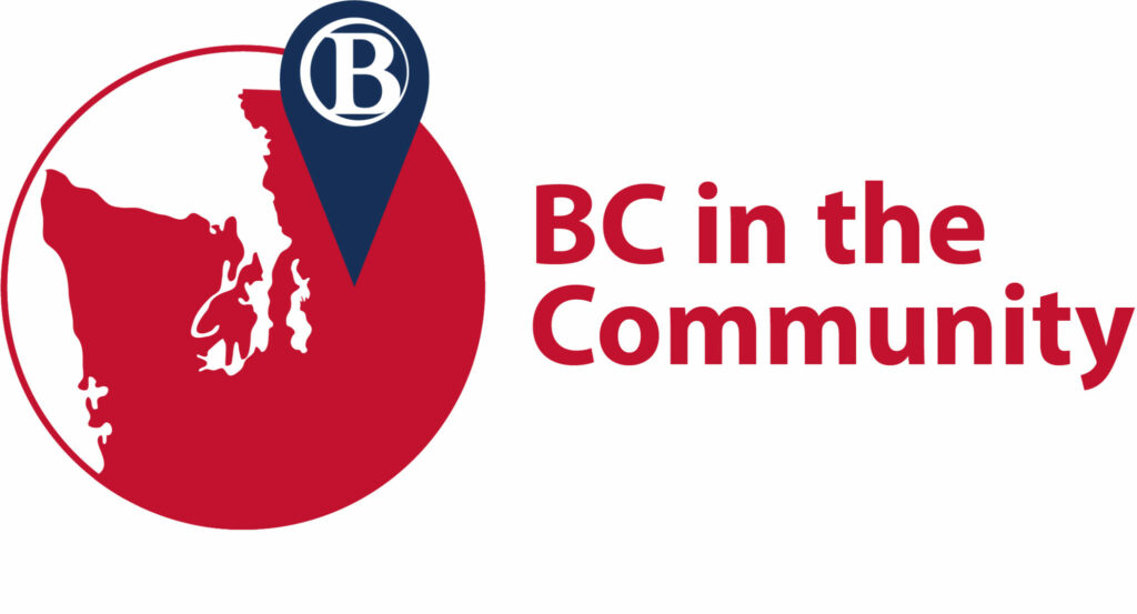 Logo for BC in the Community with writing in red and a red image of Western Washington with a blue tab with the Bellevue College logo