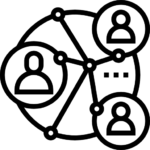 Line icon of people connected in a circular web, to represent community and civic connections