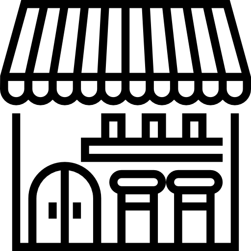 Line icon of a storefront with awning, representing community economic engagement