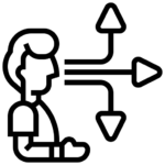 Line icon of person with three choices, to represent the pathways for civic impact