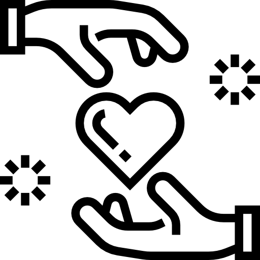 Line icon of a heart being given from one hand to another, to represent philanthropy