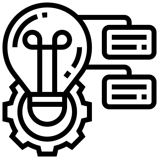 Line icon of light bulb, gear, and talking bubbles, to represent project-based service-learning