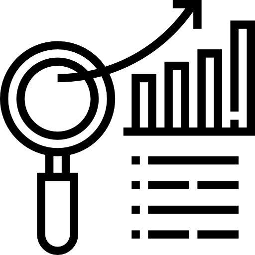 Line icon of magnifying glass, bar graph, and list, to represent community-based research
