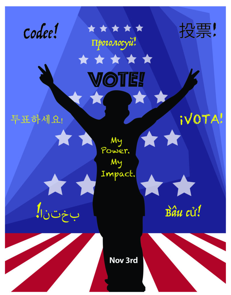 """Silhouetted person with peace gesture with a blue background and red and white floor, with VOTE! written above, """"My Power. My Impact."""" written in the silhouette, and """"Nov 3"""" written at the bottom. Also has """"VOTE!"""" written in Spanish, Russian, Vietnamese, Arabic, Somali, and Chinese (traditional and simplified)"""
