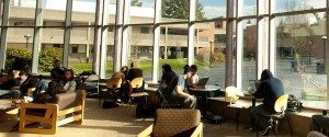 Students sitting in the student union