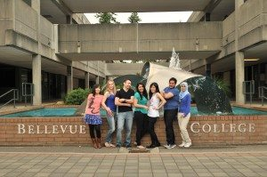 Photo of International Students at the water fountain