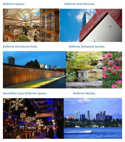 Some of the most visited places around Bellevue City.