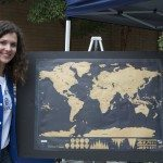 A picture of Giulia and a world map