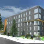 BC Student Housing Exterior View with Walkway