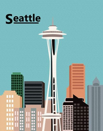 Illustration of Seattle skyline