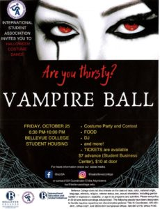 Flyer with a vampire ladies eyes below reads, are you thirsty? Vampire Ball with details about the vampire ball
