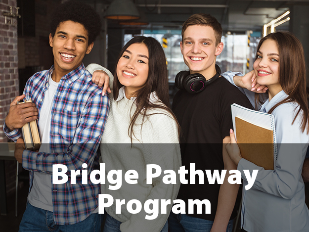 Bridge Pathway Program. Picture of four students holding notebooks and standing next to each other smiling.
