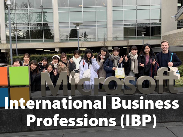 International Business Professions (IBP). 14 Japanese students standing in front of large Microsoft sign outside of the Microsoft headquarters in Bellevue, Washington.