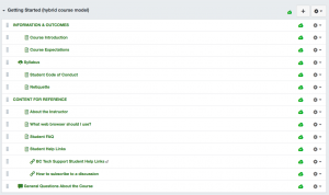 Image of the Getting Started module in Canvas