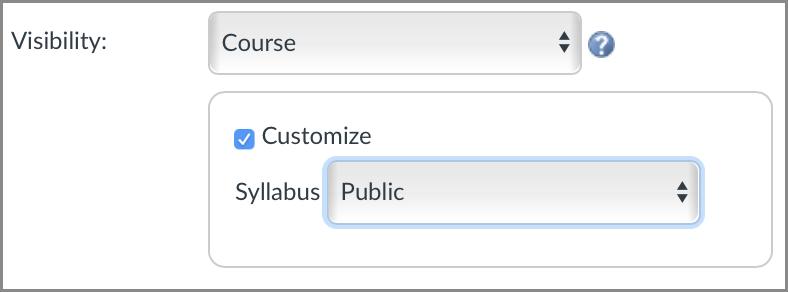 screenshot of syllabus visibility settings