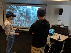 Students using virtual reality in the Bellevue College XR Lab.