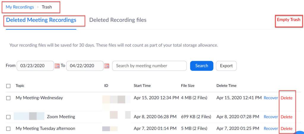 Delete Zoom recordings