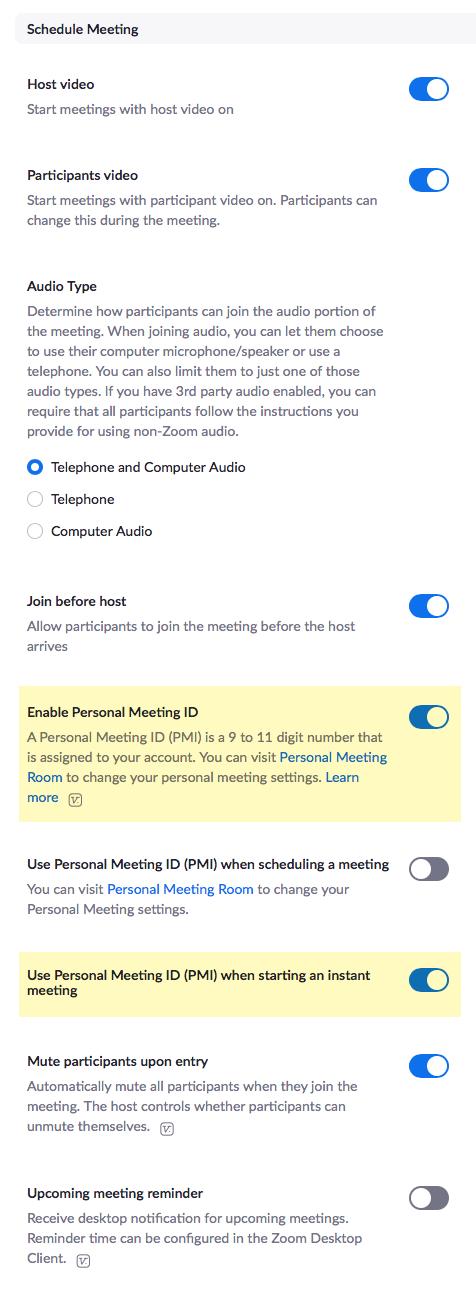 Zoom settings 2 of 7
