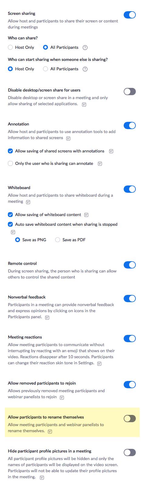 Zoom settings 4 of 7