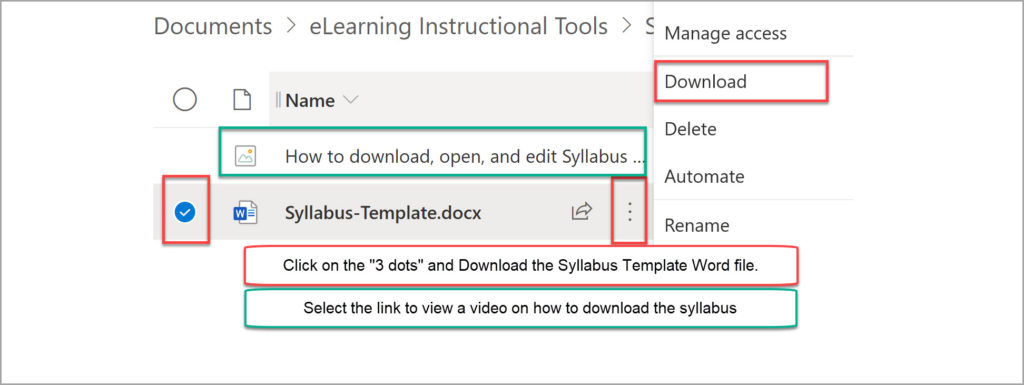 How to download the Syllabus Template