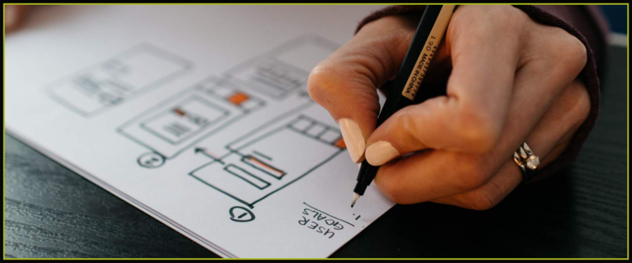 A hand drawing a diagram outlining a course