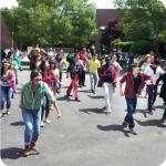 Flashmob dance event in the square